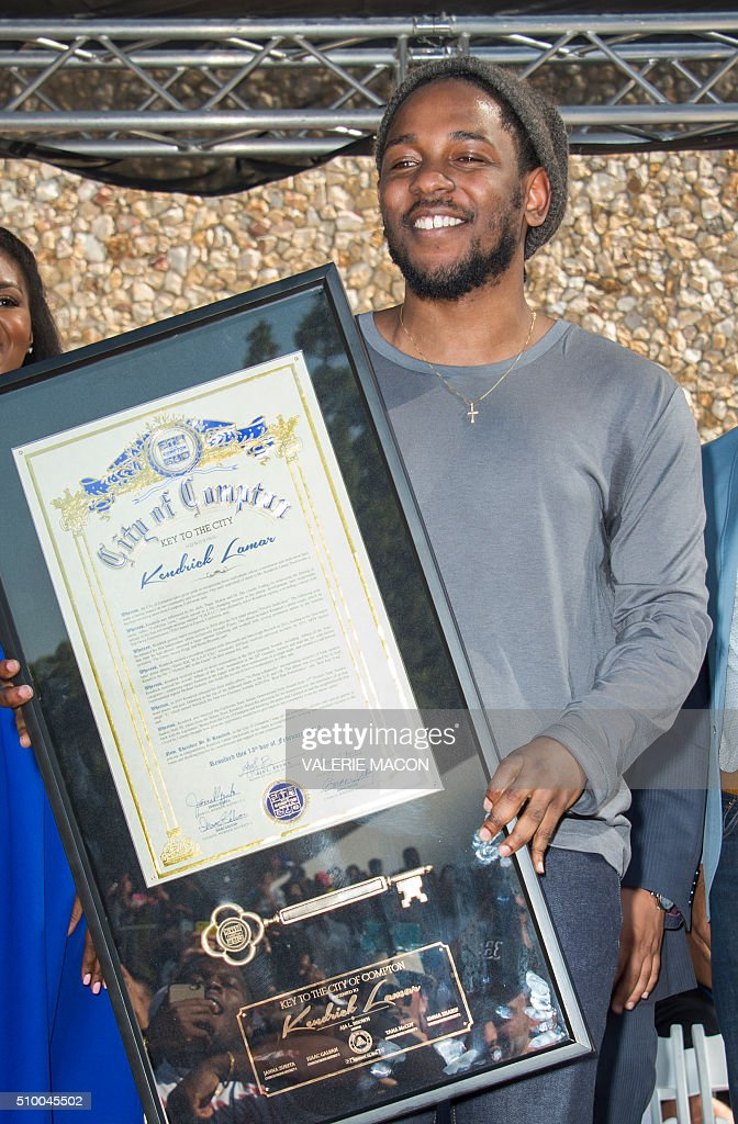 Rapper Kendrick Lamar attends the ceremony honoring him with the Keys of the City of Compton, in Compton, California, on February 13, 2016. MACON