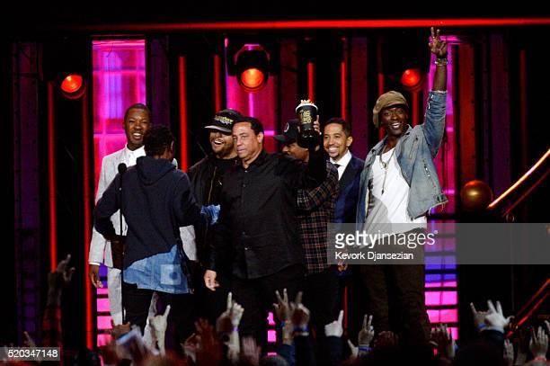 Rapper Kendrick Lamar DJ Yella of NWA actors Corey Hawkins O'Shea Jackson Jr Jason Mitchell Neil Brown Jr and Aldis Hodge accept the True Story award...