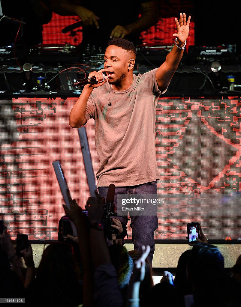 Rapper <a gi-track='captionPersonalityLinkClicked' href=/galleries/search?phrase=Kendrick+Lamar&family=editorial&specificpeople=8012417 ng-click='$event.stopPropagation()'>Kendrick Lamar</a> performs at a Beats by Dr. Dre CES after party at the Light Nightclub at the Mandalay Bay Resort and Casino on January 9, 2014 in Las Vegas, Nevada.