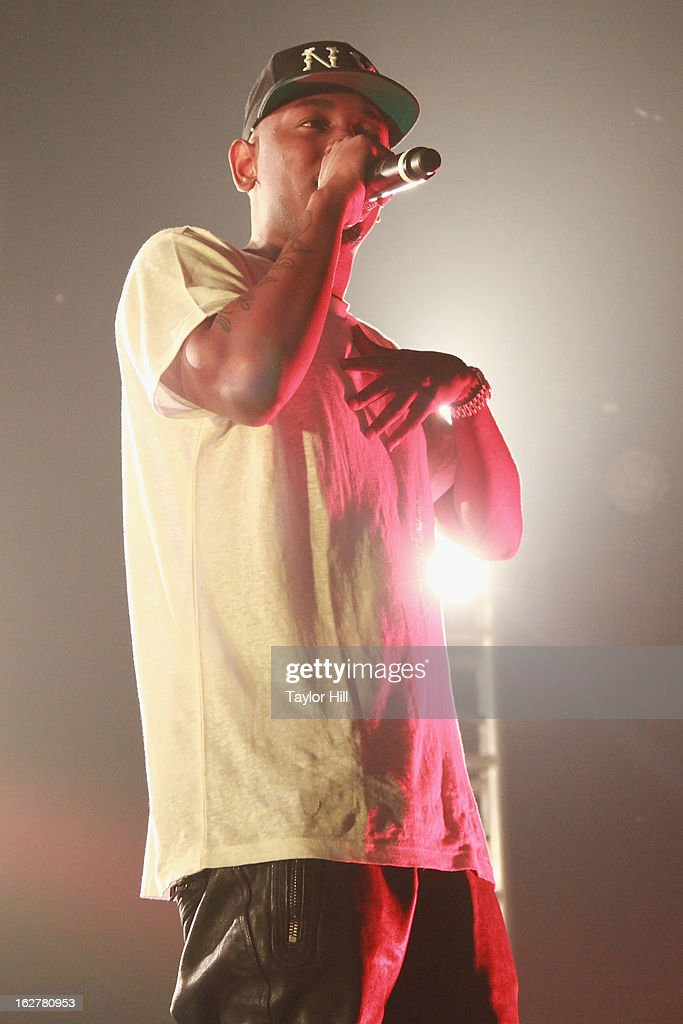 Rapper <a gi-track='captionPersonalityLinkClicked' href=/galleries/search?phrase=Kendrick+Lamar&family=editorial&specificpeople=8012417 ng-click='$event.stopPropagation()'>Kendrick Lamar</a> performs at Roseland Ballroom on February 26, 2013 in New York City.