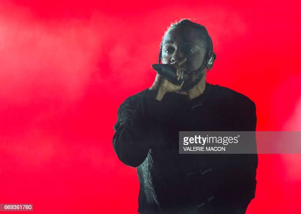 Rapper Kendrick Lamar performs at the Coachella Valley Music And Arts Festival on April 16 in Indio California / AFP PHOTO / VALERIE MACON