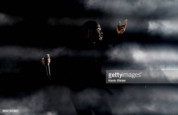 Rapper Kendrick Lamar performs on the Coachella Stage during day 3 of the Coachella Valley Music And Arts Festival at the Empire Polo Club on April...
