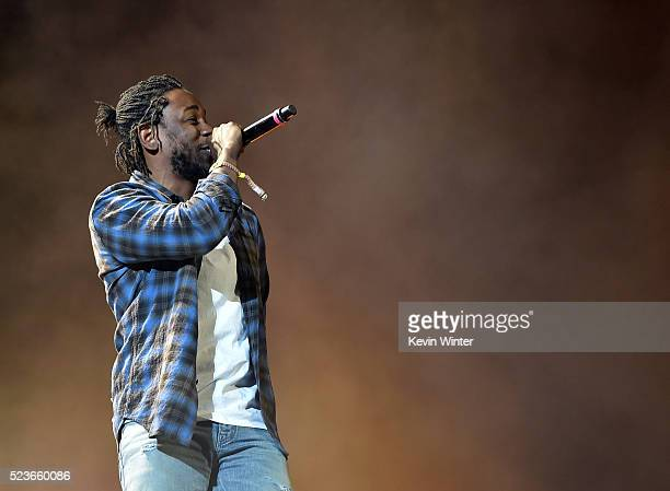 Rapper Kendrick Lamar performs onstage during day 2 of the 2016 Coachella Valley Music Arts Festival Weekend 2 at the Empire Polo Club on April 23...