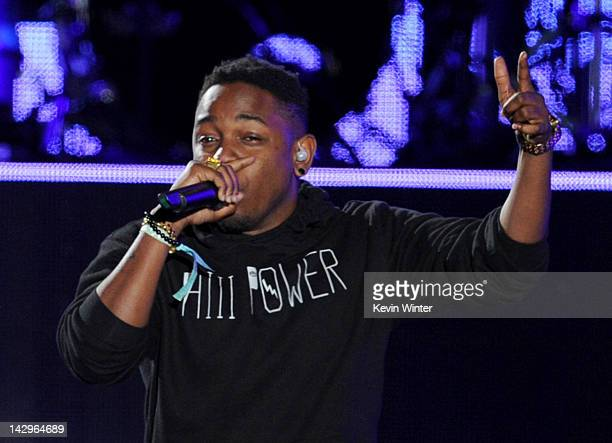 Rapper Kendrick Lamar performs onstage during day 3 of the 2012 Coachella Valley Music Arts Festival at the Empire Polo Field on April 15 2012 in...