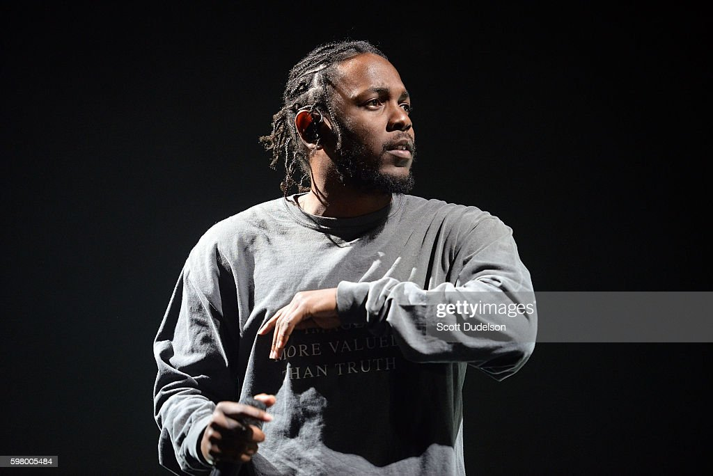 Rapper Kendrick Lamar performs onstage during FYF Festival at Los Angeles Sports Arena on August 27, 2016 in Los Angeles, California.
