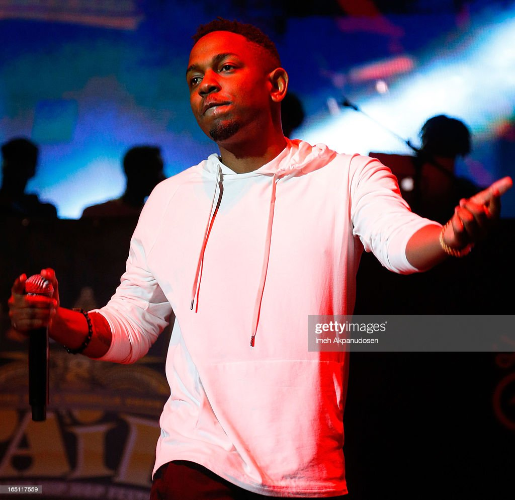 Rapper <a gi-track='captionPersonalityLinkClicked' href=/galleries/search?phrase=Kendrick+Lamar&family=editorial&specificpeople=8012417 ng-click='$event.stopPropagation()'>Kendrick Lamar</a> performs onstage during the 2013 Paid Dues Independent Hip Hop Festival at San Manuel Amphitheater on March 30, 2013 in San Bernardino, California.