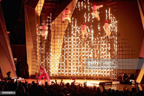 Rapper Kendrick Lamar performs onstage during the 2017 MTV Video Music Awards at The Forum on August 27 2017 in Inglewood California