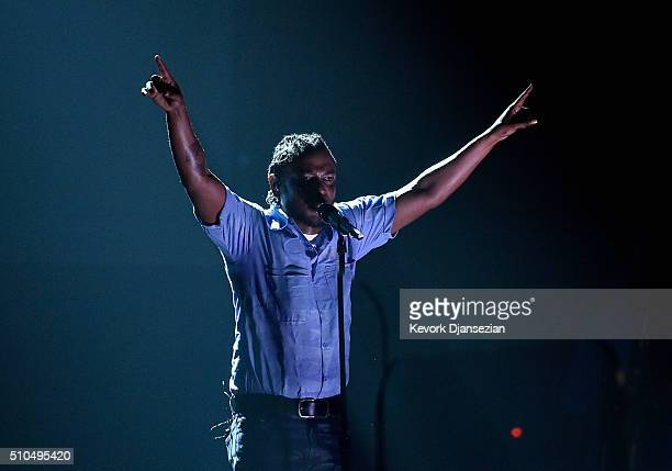 Rapper Kendrick Lamar performs onstage during The 58th GRAMMY Awards at Staples Center on February 15 2016 in Los Angeles California