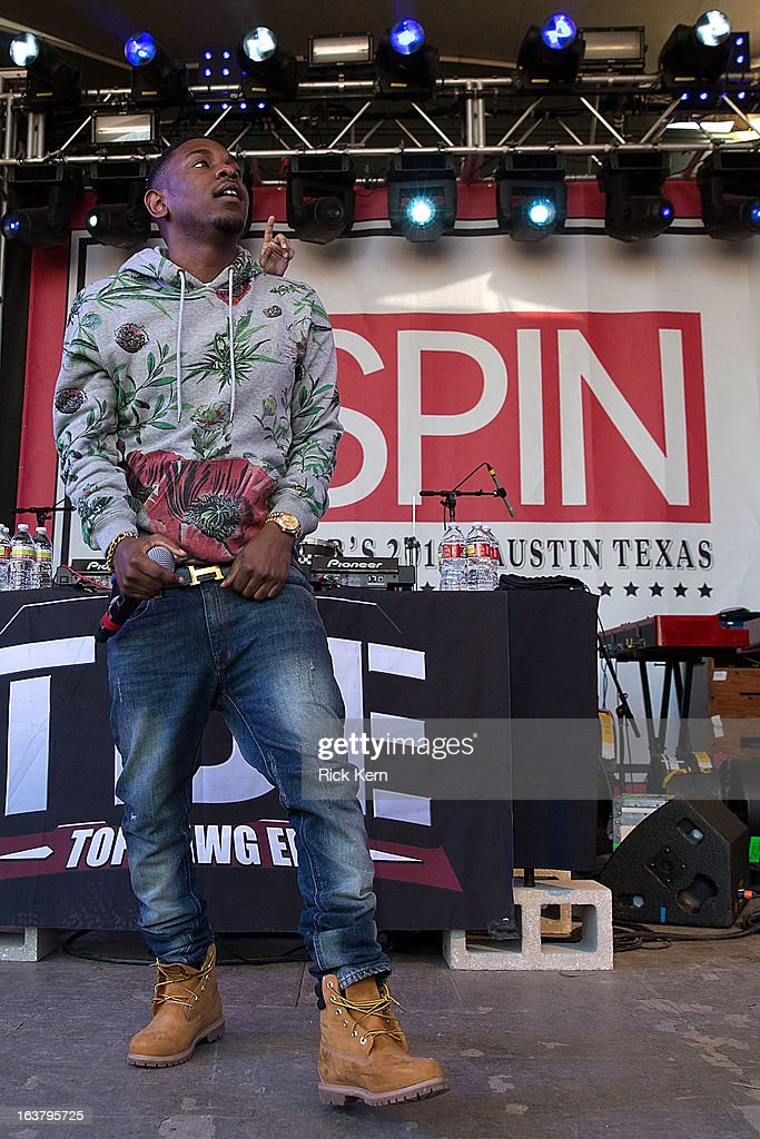 Rapper <a gi-track='captionPersonalityLinkClicked' href=/galleries/search?phrase=Kendrick+Lamar&family=editorial&specificpeople=8012417 ng-click='$event.stopPropagation()'>Kendrick Lamar</a> performs onstage during the annual SPIN at Stubbs concert on March 15, 2013 in Austin, Texas.