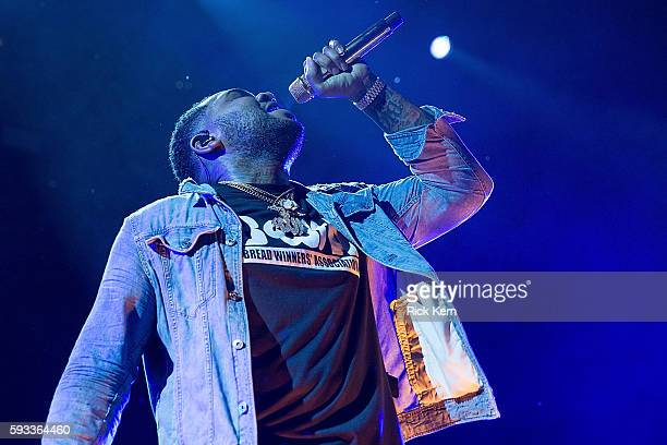 Rapper Kevin Gates performs in support of Snoop Dogg and Wiz Khalifa during 'The High Road Tour' at Austin360 Amphitheater on August 21 2016 in...