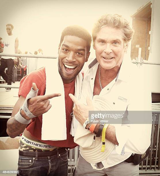 Rapper Kid Cudi and David Hasselhoff pose backstage during day 2 of the 2014 Coachella Valley Music Arts Festival at the Empire Polo Club on April 12...