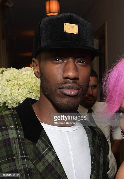 Rapper Kid Cudi attends the Warner Music Group annual Grammy celebration at Chateau Marmont on February 8 2015 in Los Angeles California