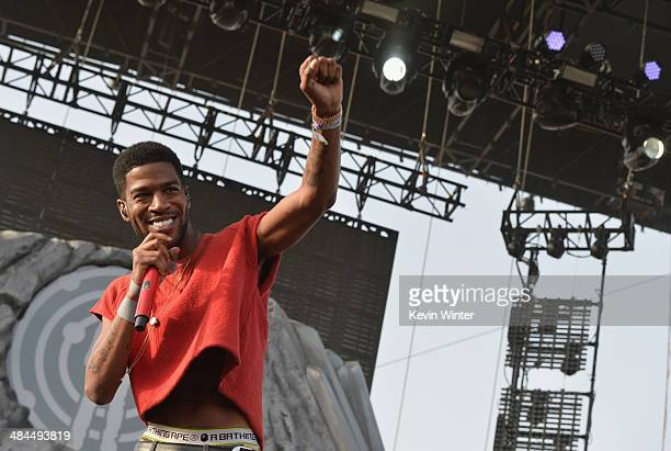 Rapper Kid Cudi performs onstage during day 2 of the 2014 Coachella Valley Music Arts Festival at the Empire Polo Club on April 12 2014 in Indio...