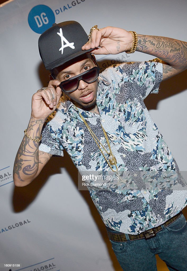Rapper Kid Ink poses backstage at the GRAMMYs Dial Global Radio Remotes during The 55th Annual GRAMMY Awards at the STAPLES Center on February 7, 2013 in Los Angeles, California.