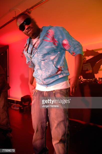 Rapper Lethal Bizzle poses during the Reebok NFL Party held at The Music Rooms on October 27 2007 in London England