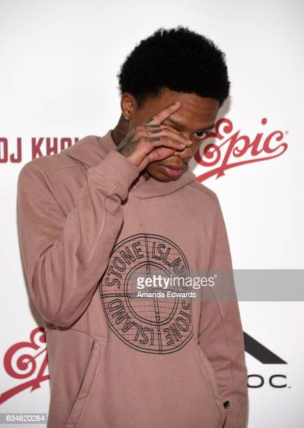 Rapper Levi Carter attends DJ Khaled's special press conference where DJ Khaled announced the title of his new album is going to be 'Grateful' at The...