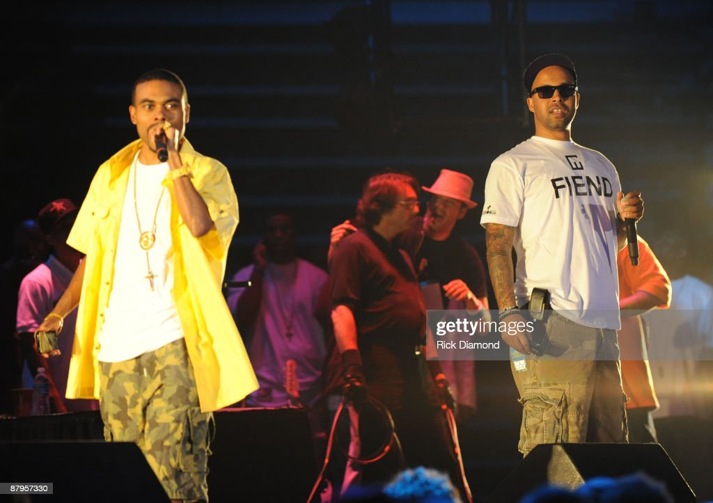 Rapper Lil Duval and Kenny Burns performs at T.I.'s Final Countdown Concert at Philips Arena on May 24, 2009 in Atlanta, Georgia.