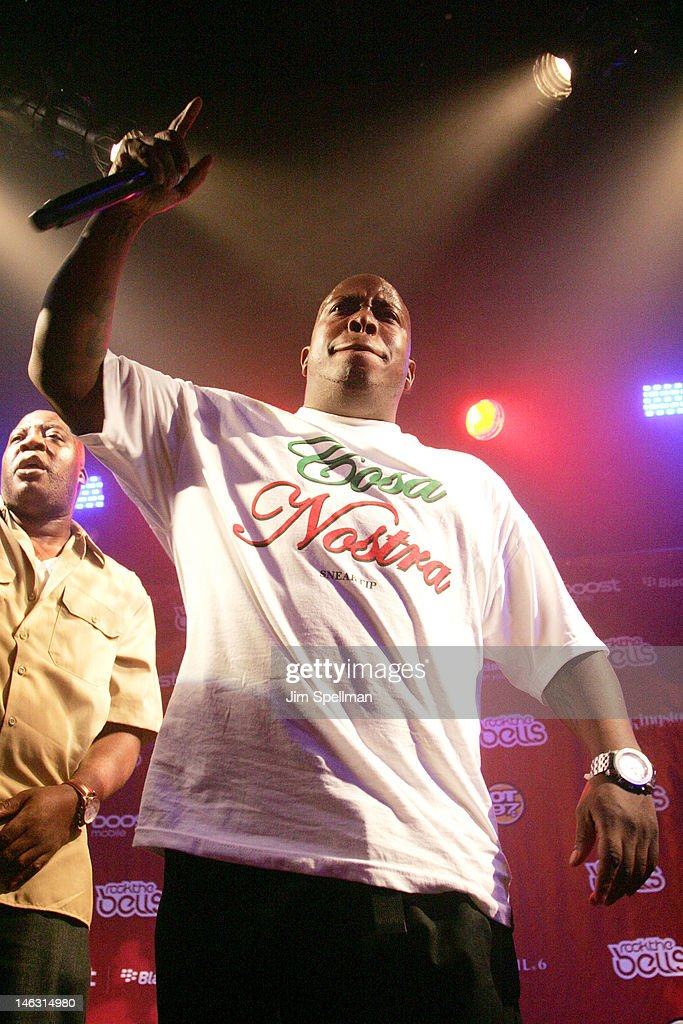 Rapper Lil' Fame of M.O.P. performs during the 2012 Rock The Bells Festival Press Conference And Fan Appreciation Party on June 13, 2012 in New York City.