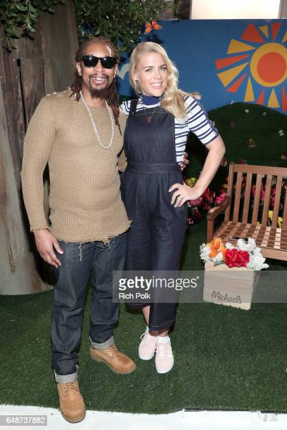 Rapper Lil Jon and actor Busy Philipps behind the scenes of Making with Michaels at Stage THIS on March 2 2017 in Sun Valley California