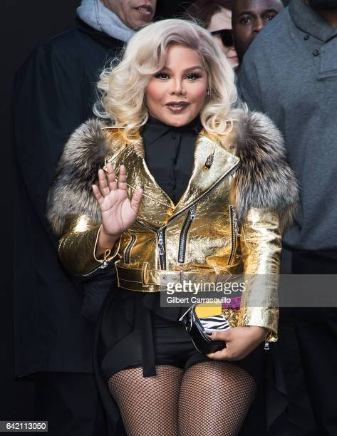 Rapper Lil' Kim is seen arriving at the Marc Jacobs Fall 2017 Show at Park Avenue Armory on February 16 2017 in New York City