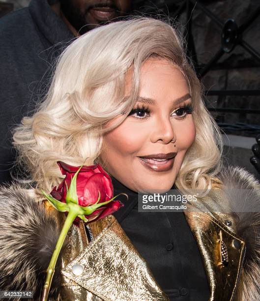 Rapper Lil' Kim is seen leaving the Marc Jacobs Fall 2017 Show at Park Avenue Armory on February 16 2017 in New York City