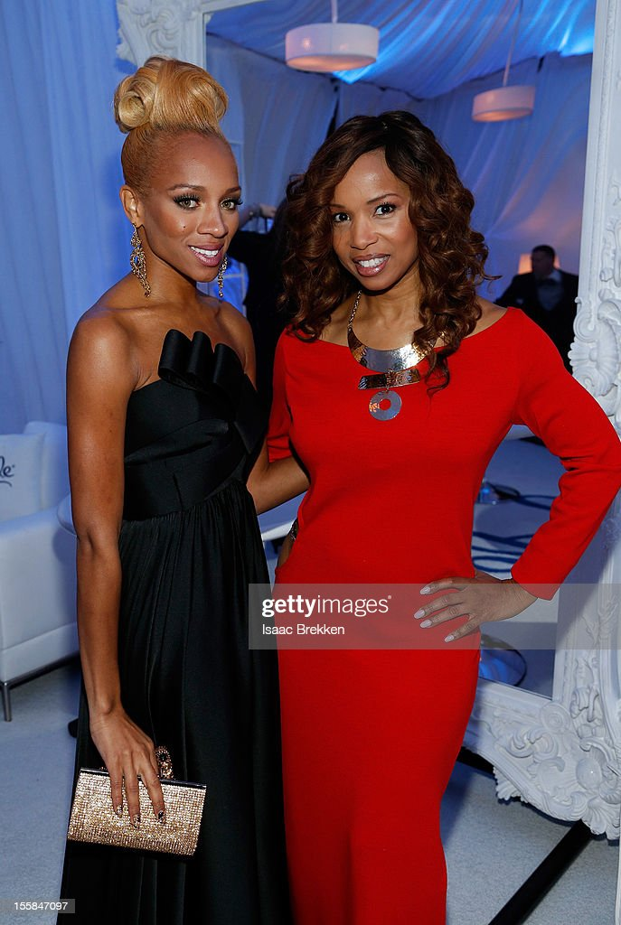 Rapper Lil Mama (L) and actress Elise Neal arrive at the Glade Suite at the Soul Train Awards 2012 at PH Live at Planet Hollywood Resort & Casino on November 8, 2012 in Las Vegas, Nevada.