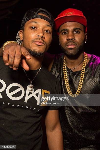 Rapper Lil Romeo and singer Jason Derulo attend the listening party for Jason Derulo's new album 'Talk Dirty' at 1OAK on April 7 2014 in West...