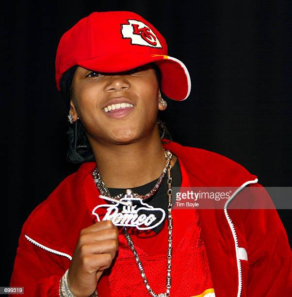 Rapper Lil Romeo poses at Orr High School February 7 2002 in Chicago IL The singer and fellow rapper Master P came to the school to stress the...