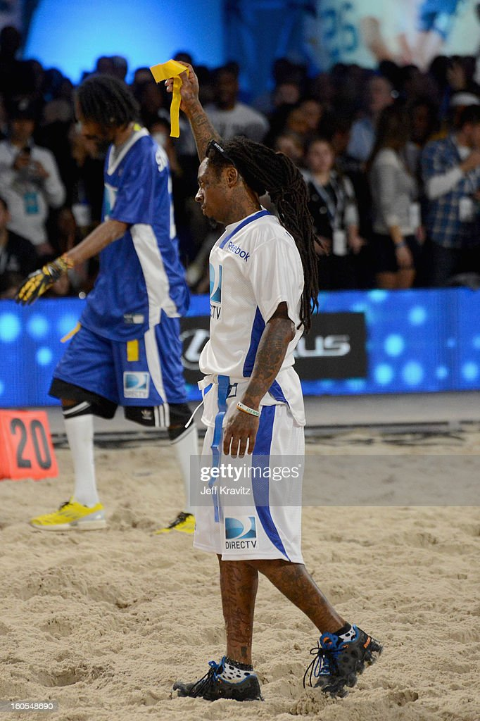 Rapper Lil Wayne attends DIRECTV'S 7th Annual Celebrity Beach Bowl at DTV SuperFan Stadium at Mardi Gras World on February 2, 2013 in New Orleans, Louisiana.