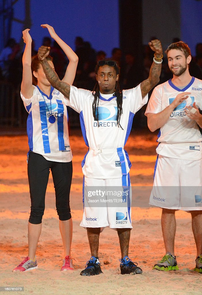 Rapper Lil Wayne attends DIRECTV'S Seventh Annual Celebrity Beach Bowl at DTV SuperFan Stadium at Mardi Gras World on February 2, 2013 in New Orleans, Louisiana.
