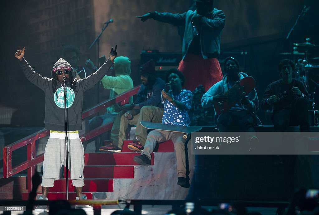 Rapper Lil Wayne performs live during a concert at the Max-Schmeling-Halle on October 30, 2013 in Berlin, Germany.