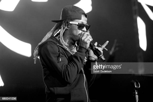 Rapper Lil Wayne performs onstage during Powerhouse 2017 at Glen Helen Amphitheatre on May 6 2017 in San Bernardino California