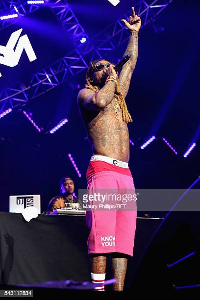 Rapper Lil Wayne performs onstage during the 2016 BET Experience at Staples Center on June 25 2016 in Los Angeles California