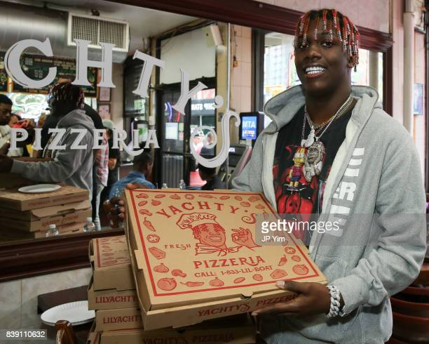 Rapper Lil Yachty and Bravado launch Yachty's Pizzeria a popup pizzeria at Famous Ben's Pizzeria located on 177 Spring Street on August 25 2017 in...