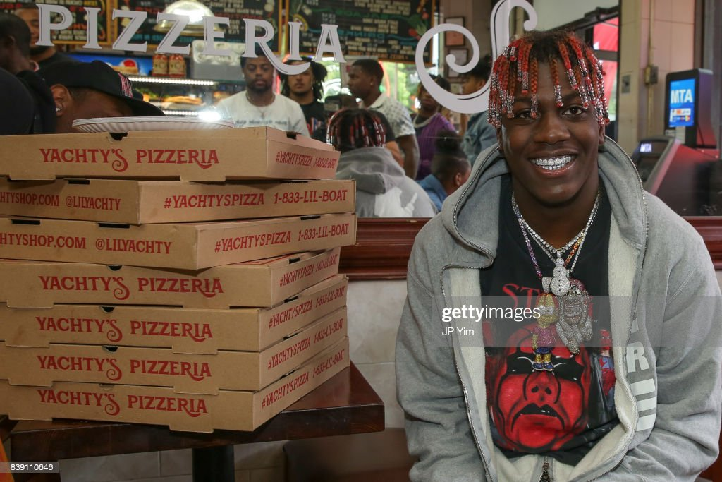 Rapper Lil Yachty and Bravado launch Yachty's Pizzeria, a pop-up pizzeria at Famous Ben's Pizzeria located on 177 Spring Street on August 25, 2017 in New York City.
