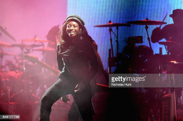Rapper Little Simz performs onstage with Gorillaz during the Meadows Music and Arts Festival Day 2 at Citi Field on September 16 2017 in New York City