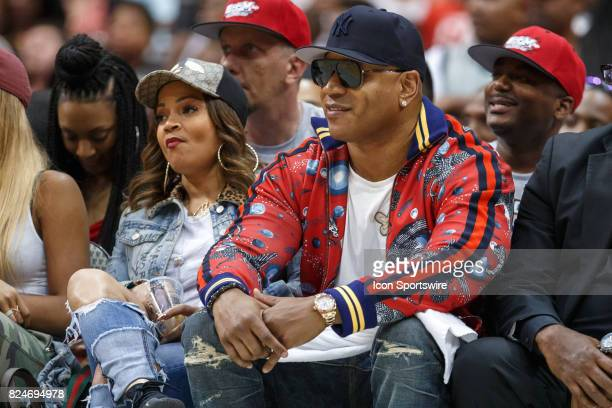 Rapper LL Cool J looks on during the Big3 basketball game between the 3 Headed Monsters and Try State on July 30 at the American Airlines Center in...