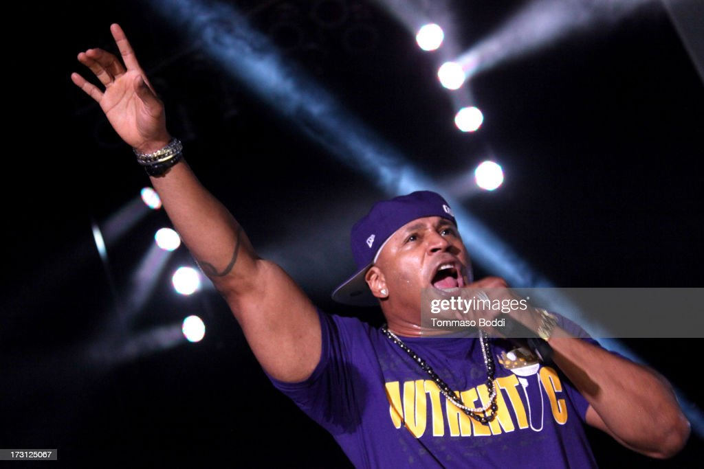 Rapper <a gi-track='captionPersonalityLinkClicked' href=/galleries/search?phrase=LL+Cool+J&family=editorial&specificpeople=201567 ng-click='$event.stopPropagation()'>LL Cool J</a> performs at the Kings Of The Mic Tour held at The Greek Theatre on July 7, 2013 in Los Angeles, California.