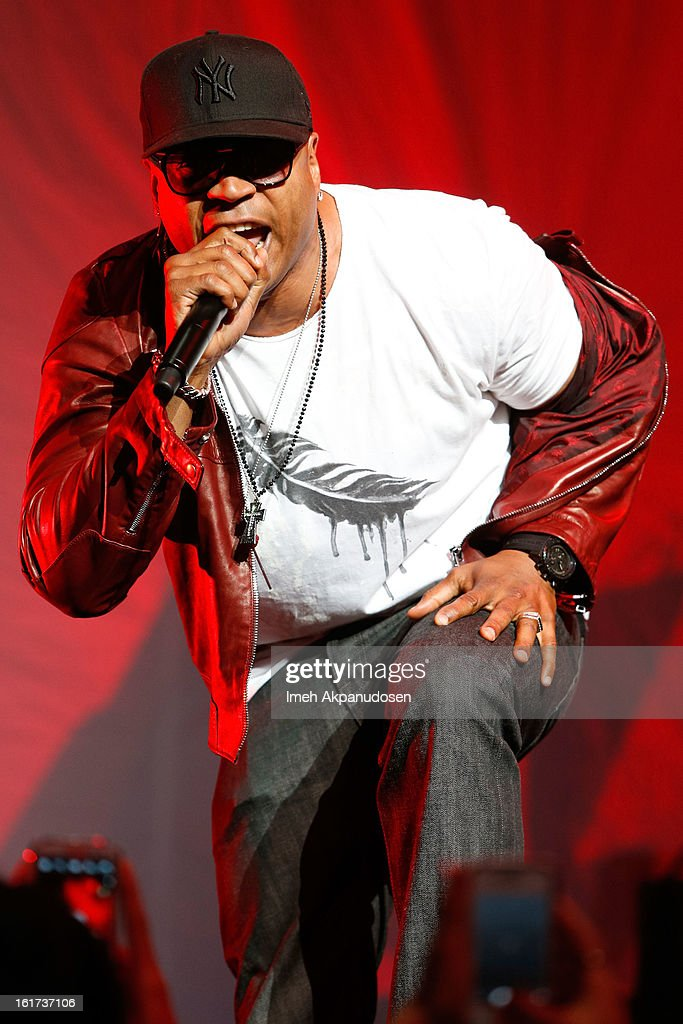Rapper <a gi-track='captionPersonalityLinkClicked' href=/galleries/search?phrase=LL+Cool+J&family=editorial&specificpeople=201567 ng-click='$event.stopPropagation()'>LL Cool J</a> performs onstage at Power 106's Valentine's Day concert at Nokia Theatre L.A. Live on February 14, 2013 in Los Angeles, California.