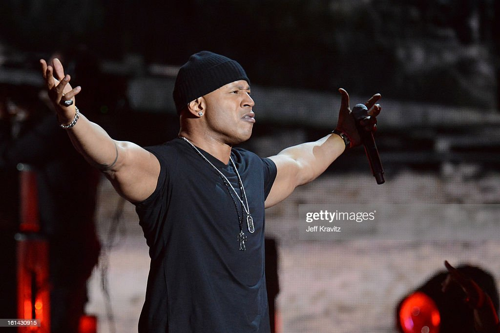 Rapper <a gi-track='captionPersonalityLinkClicked' href=/galleries/search?phrase=LL+Cool+J&family=editorial&specificpeople=201567 ng-click='$event.stopPropagation()'>LL Cool J</a> performs onstage at the 55th Annual GRAMMY Awards at Staples Center on February 10, 2013 in Los Angeles, California.