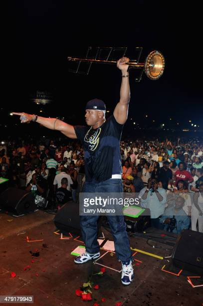 Rapper LL Cool J performs onstage during Day 2 of Jazz In The Gardens at Sun Life Stadium on March 16 2014 in Miami Gardens Florida