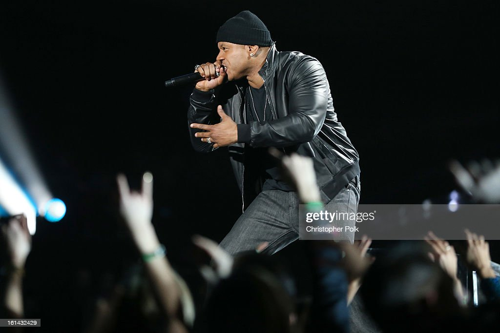 Rapper <a gi-track='captionPersonalityLinkClicked' href=/galleries/search?phrase=LL+Cool+J&family=editorial&specificpeople=201567 ng-click='$event.stopPropagation()'>LL Cool J</a> performs onstage during the 55th Annual GRAMMY Awards at STAPLES Center on February 10, 2013 in Los Angeles, California.