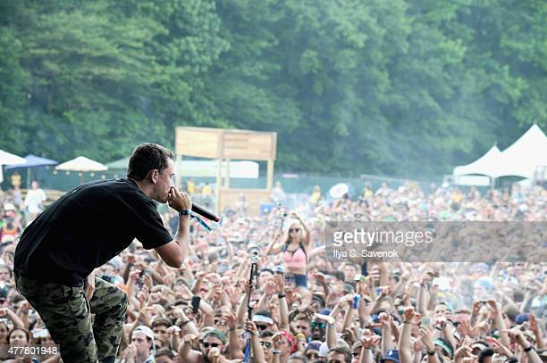 Rapper Logic performs onstage during day 2 of the Firefly Music Festival on June 19 2015 in Dover Delaware