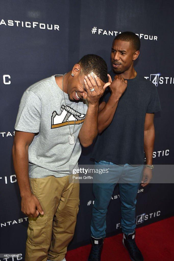Rapper Ludacris and actor Michael B Jordan attend 'Fantastic Four' Atlanta VIP screening at Cinebistro on July 30 2015 in Atlanta Georgia