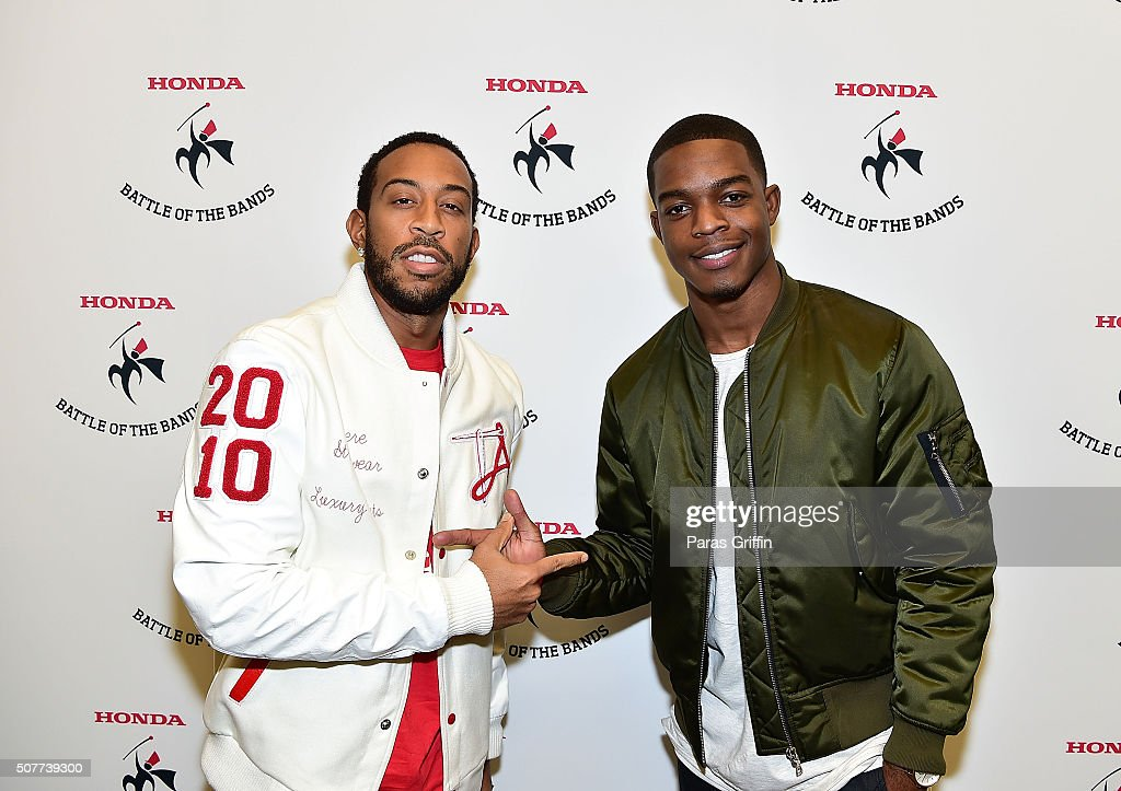 Rapper Ludacris and actor Stephan James attend 2016 Honda Battle of the Bands at Georgia Dome on January 30 2016 in Atlanta Georgia