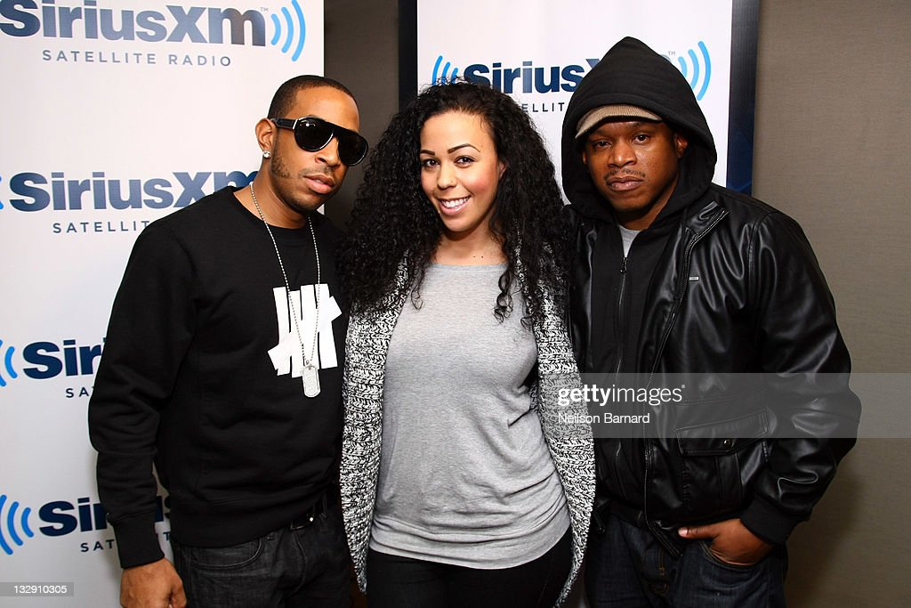 Rapper Ludacris, Devi Dev and Sway attend 'Sway In The Morning' on Eminem's Shade 45 channel at the SiriusXM Studio on November 15, 2011 in New York City.