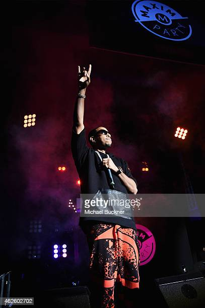 Rapper Ludacris performs onstage at the Maxim Party with Johnnie Walker Timex Dodge Hugo Boss Dos Equis Buffalo Jeans Tabasco and popchips on January...