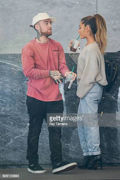 Rapper Mac Miller and singer Ariana Grande enter the Sirius XM Studios on September 20 2016 in New York City