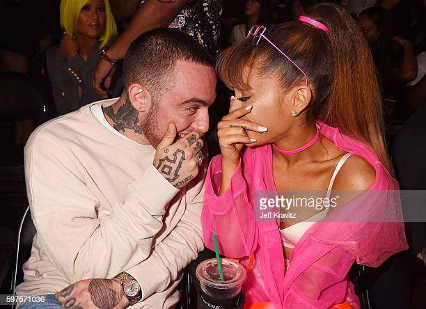 Rapper Mac Miller and singer Ariana Grande pose backstage during the 2016 MTV Video Music Awards at Madison Square Garden on August 28 2016 in New...