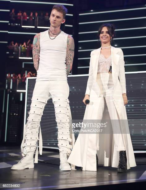 Rapper Machine Gun Kelly and singer Camila Cabello perform onstage at Nickelodeon's 2017 Kids' Choice Awards at USC Galen Center on March 11 2017 in...